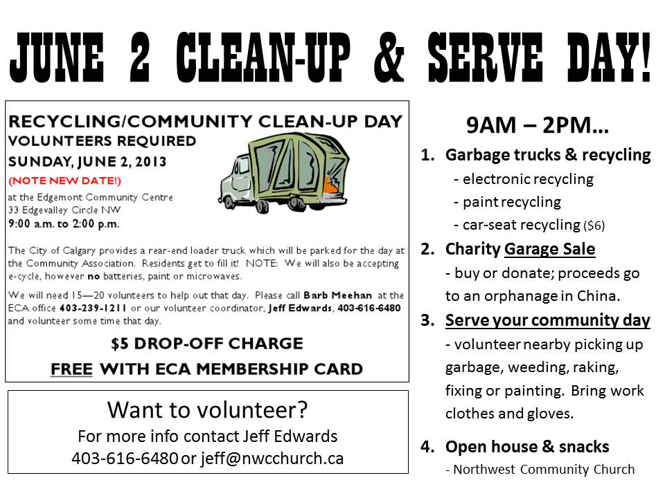 JUNE 2 CLEAN-UP & SERVE DAY